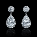 GIA Certified Diamond 18k White Gold Dangle Earrings