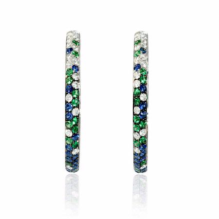 Diamond, Sapphire and Tourmaline 18k White Gold and Black Rhodium Hoop Earrings