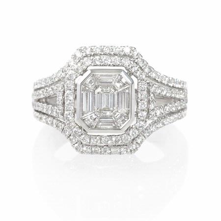 Diamond 18k White Gold Double Halo Mosaic Engagement Ring