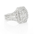 1.31ct Diamond 18k White Gold Halo Mosaic Engagement Ring