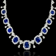19.60ct Diamond and Blue Sapphire Platinum Necklace