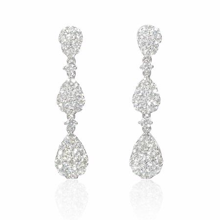 1.85ct Diamond 18k White Gold Dangle Earrings