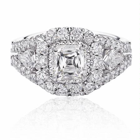1.79ct Christopher Designs Diamond 18k White Gold Halo Engagement Ring Setting