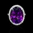 1.06ct Diamond and Purple Amethyst 18k White Gold Ring