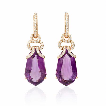 95ct Diamond And Purple Amethyst 18k Rose Gold Dangle Earrings
