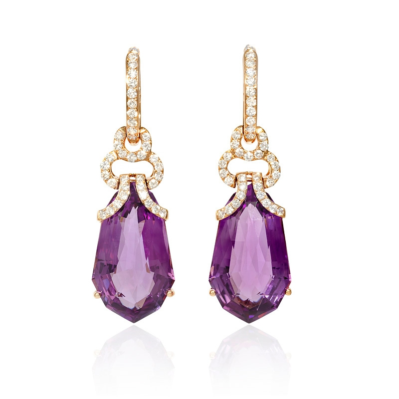 Purple and gold earrings