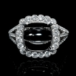 .85ct Diamond Antique Style 18k White Gold Scallop Edge Halo Engagement Ring Setting