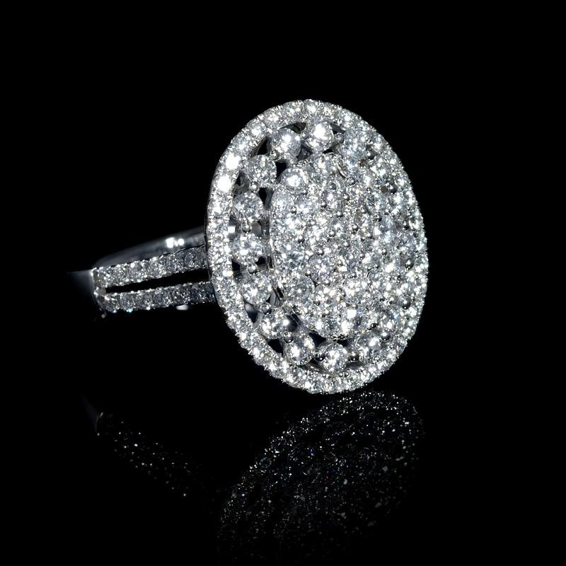 1 83ct 18k white gold cluster ring