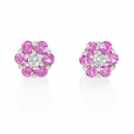 .08ct Diamond and Pink Sapphire 18k White Gold Cluster Flower Earrings