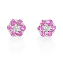 Diamond and Pink Sapphire 18k White Gold Cluster Flower Earrings