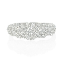 Tapered Diamond Cluster Floral 18k White Gold Ring