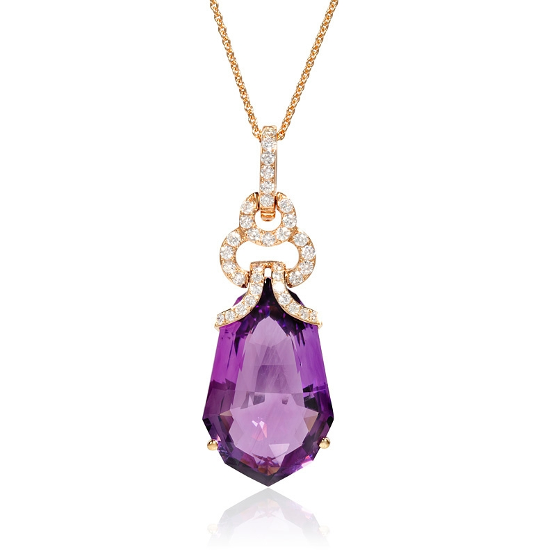 round purple halo diamond necklace pendant amethyst pendants