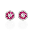 .44ct Diamond and Ruby 18k White Gold Cluster Halo Earrings