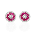 Diamond and Ruby 18k White Gold Cluster Halo Earrings