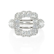 1.66ct Diamond 18k White Gold Halo Engagement Ring Setting