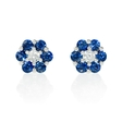 .08ct Diamond and Blue Sapphire 18k White Gold Cluster Flower Earrings
