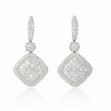 4.15ct Diamond 18k White Gold Dangle Earrings