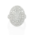 Diamond 18k White Gold Oval Cluster Ring