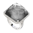 .39ct Doves Diamond, White Topaz and Hematite 18k White Gold Ring