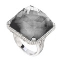 Doves Diamond, White Topaz and Hematite 18k White Gold Ring
