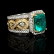 1.11ct Diamond and GIA Certified Colombian Emerald Antique Style 18k Two Tone Gold Ring