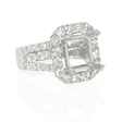 2.35ct Diamond 18k White Gold Halo Engagement Ring Setting