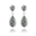 Doves Diamond, White Topaz and Hematite 18k White Gold Dangle Earrings