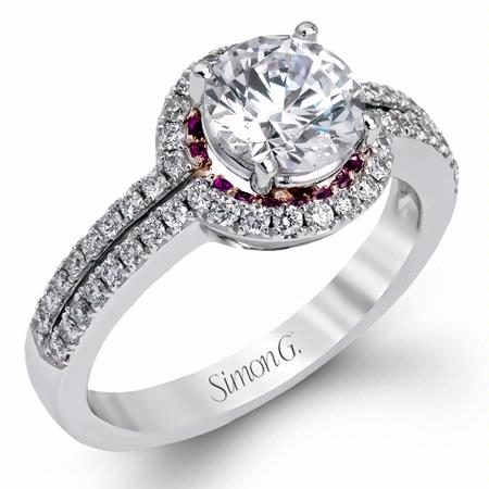 Simon G Diamond and Pink Sapphire 18k Two Tone Gold Halo Engagement Ring Setting