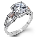 Simon G Diamond 18k Two Tone Gold Halo Engagement Ring Setting
