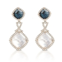 Doves Diamond, White Topaz, Hematite and Mother of Pearl 18k Rose Gold Dangle Earrings