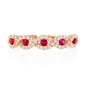 Diamond and Ruby 18k Rose Gold Ring