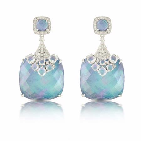 Doves Diamond, Lapiz Lazuli, Mother of Pearl and White Topaz 18k White Gold Dangle Earrings