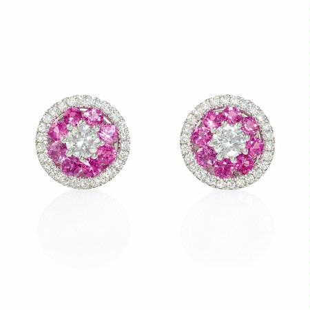Diamond and Pink Sapphire 18k White Gold Cluster Halo Earrings