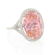 .47ct Diamond and Pink Quartz 14k White Gold Ring