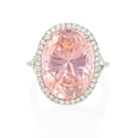 Diamond and Pink Quartz 14k White Gold Ring