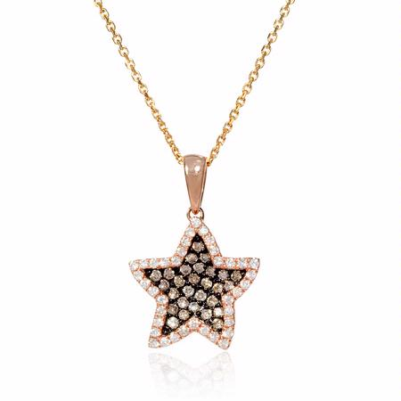 Diamond 18k Rose Gold and Black Rhodium Pendant