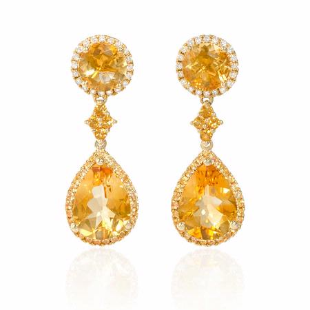Diamond, Yellow Sapphire and Citrine 18k Yellow Gold Dangle Earrings