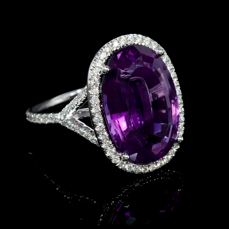 47ct and purple amethyst 14k white gold ring