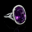 .47ct Diamond and Purple Amethyst 14k White Gold Ring