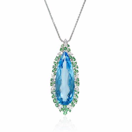 Diamond, Green Tourmaline and Blue Topaz 18k White Gold Pendant