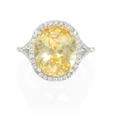 Diamond and Yellow Zirconia 14k White Gold Ring