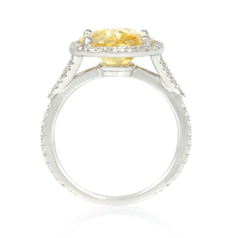 37ct and yellow zirconia 14k white gold ring