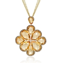 Diamond and Citrine 18k Yellow Gold and Black Rhodium Pendant