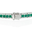 1.41ct Diamond and Emerald 18k White Gold Bracelet