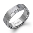 .07ct Simon G Men's Diamond 14k White Gold Wedding Band Ring