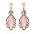 2.41ct Doves Diamond, White Topaz, Mother of Pearl and Pink Quartz 18k Rose Gold and Black Rhodium Dangle Earrings