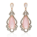 Doves Diamond, White Topaz, Mother of Pearl and Pink Quartz 18k Rose Gold and Black Rhodium Dangle Earrings