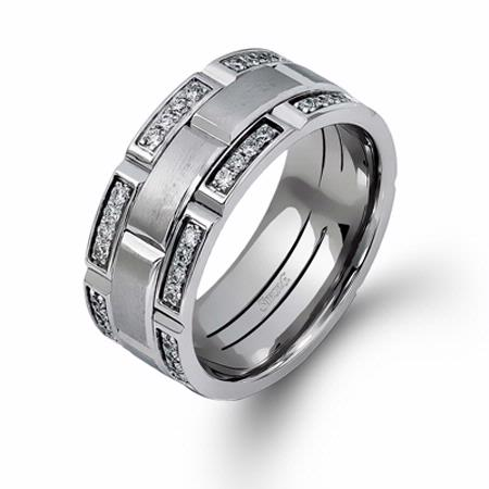 Simon G Men's Diamond 14k White Gold Wedding Band Ring