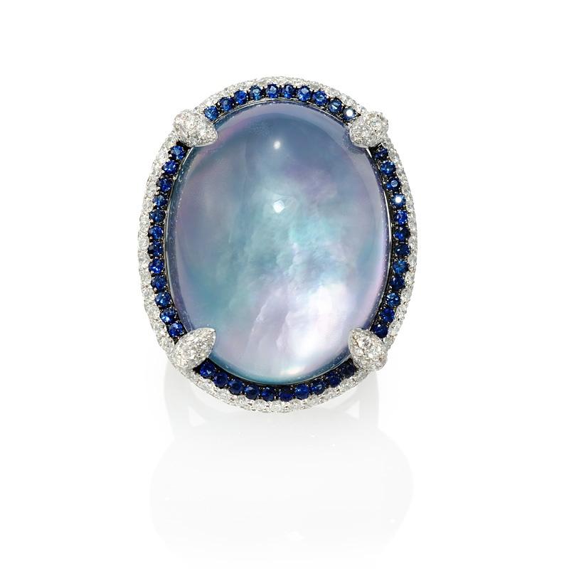157ct Diamond Sapphire White Topaz Lapis Lazuli and Mother of