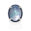 Diamond, Sapphire, White Topaz, Lapis Lazuli and Mother of Pearl 18k White Gold and Black Rhodium Ring